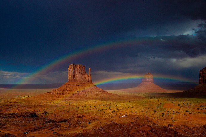 Weekly Challenge #986 (04/25/21 - 05/01/21) Parallel lines - Twin rainbows over Monument Valley